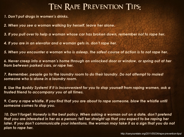 Ten Steps to Prevent Rape